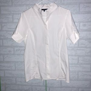 Lafayette 148 NY collarless button shirt sz 8 C3